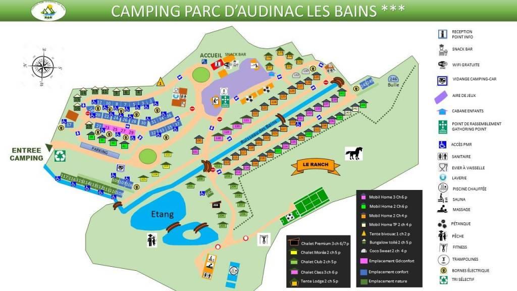 plan camping audinac les bains